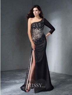 Trumpet/Mermaid One-Shoulder 3/4 Sleeves Sweep/Brush Train Lace Dresses