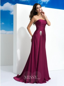 A-Line/Princess Strapless Sleeveless Pleats Sweep/Brush Train Satin Chiffon Dresses