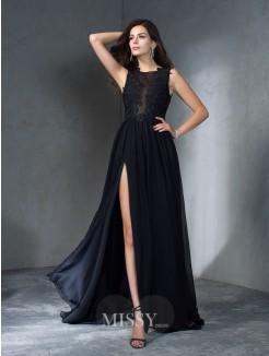 A-Line/Princess Sleeveless Scoop Applique Sweep/Brush Train Chiffon Dresses