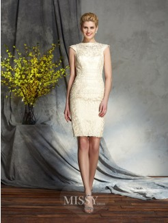 Sheath/Column Bateau Short Sleeves Elastic Woven Satin Mini Mother of the Bride Dresses