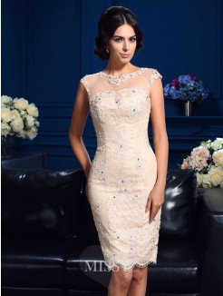 Sheath/Column Sleeveless Sheer Neck Mini Lace Mother Of The Bride Dresses