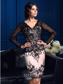 Sheath/Column V-neck Long Sleeves Applique Mini Lace Mother Of The Bride Dresses