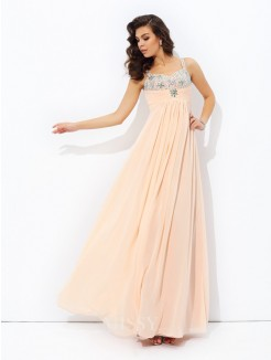 A-Line/Princess Spaghetti Strap Sleeveless Beading Chiffon Floor-Length Dresses