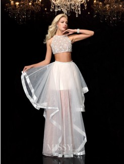 A-Line/Princess Sleeveless Scoop Applique Floor-Length Tulle Dresses