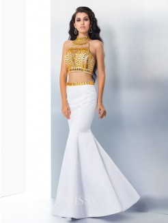 Trumpet/Mermaid Sleeveless High Neck Beading Satin Floor-Length Gown
