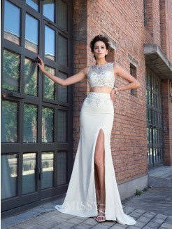 Sheath/Column Sleeveless High Neck Crystal Sweep/Brush Train Chiffon Two Piece Dresses
