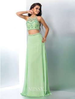 A-Line/Princess Halter Sleeveless Beading Chiffon Floor-Length Two Piece Gown
