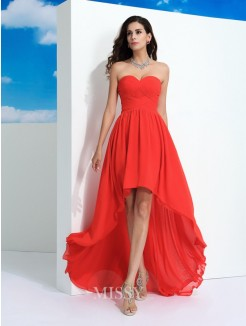 A-Line/Princess Sleeveless Sweetheart Pleats Asymmetrical Chiffon Dresses