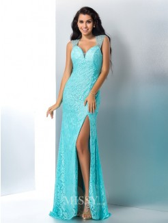 Sheath/Column Sleeveless Sweetheart Beading Lace Floor-Length Gown