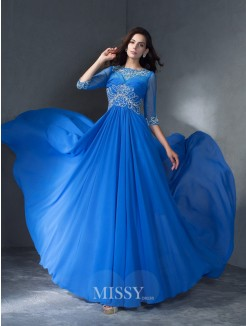 A-Line/Princess Scoop 1/2 Sleeves Beading Sweep/Brush Train Chiffon Dresses