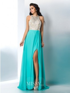 A-Line/Princess Sleeveless Scoop Beading Chiffon Floor-Length Gown