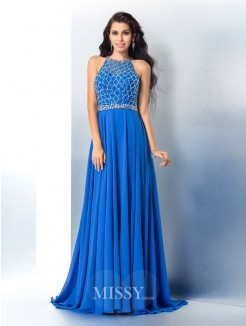 A-Line/Princess Sleeveless Scoop Beading Chiffon Sweep/Brush Train Gown