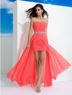 Sheath/Column Sleeveless Sweetheart Pleats Floor-Length Chiffon Dresses