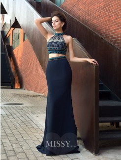 Sheath/Column Sleeveless High Neck Beading Chiffon Sweep/Brush Train Two Piece Dresses