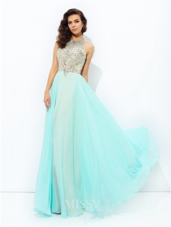 A-Line/Princess Jewel Sleeveless Beading Floor-Length Chiffon Dresses