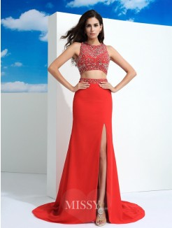 Sheath/Column Sleeveless Scoop Beading Court Train Chiffon Dresses