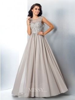 A-Line/Princess Sleeveless Sheer Neck Beading Chiffon Floor-Length Gown