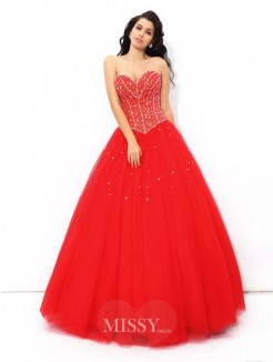 Ball Gown Sleeveless Sweetheart Beading Floor-Length Net Quinceanera Dress
