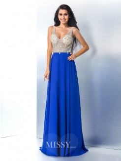 A-Line/Princess Sleeveless Straps Beading Chiffon Sweep/Brush Train Gown