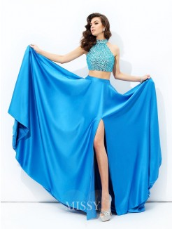 A-Line/Princess Sleeveless High Neck Beading Court Train Satin Dresses