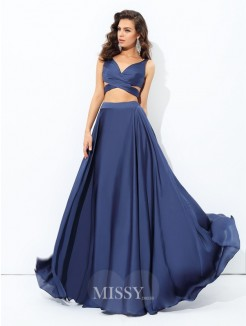 A-Line/Princess Sleeveless Straps Satin Chiffon Floor-Length Two Piece Dresses