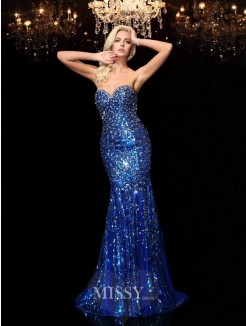 Trumpet/Mermaid Sleeveless Sweetheart Sequins Court Train Dresses