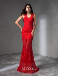 Trumpet/Mermaid Sleeveless V-neck Applique Sweep/Brush Train Satin Dresses