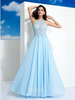 A-Line/Princess Spaghetti Sleeveless Straps Applique Floor-Length Chiffon Dresses