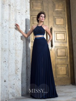 A-Line/Princess Spaghetti Sleeveless Straps Pleats Sweep/Brush Train Chiffon Two Piece Dresses