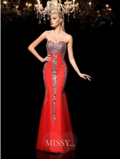 Sheath/Column Sleeveless Sweetheart Rhinestone Floor-Length Net Dresses