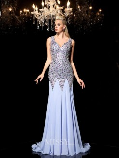 Sheath/Column Sleeveless Straps Rhinestone Sweep/Brush Train Chiffon Dresses