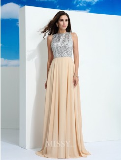 A-Line/Princess Sleeveless Scoop Paillette Sweep/Brush Train Chiffon Dresses