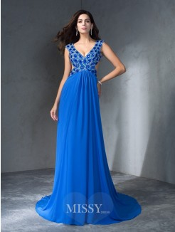 A-Line/Princess Sleeveless V-neck Sequin Sweep/Brush Train Chiffon Dresses