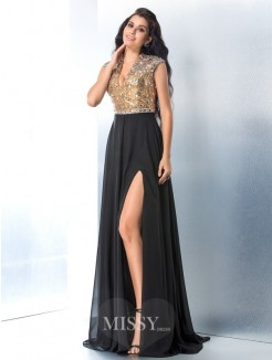A-Line/Princess Sleeveless V-neck Rhinestone Sweep/Brush Train Chiffon Gown