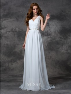 A-line/Princess Beading Sleeveless V-neck Sweep/Brush Train Chiffon Dress