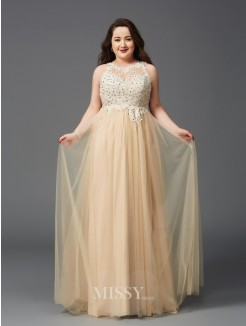 A-Line/Princess Sleeveless Scoop Rhinestone Floor-Length Net Plus Size Dresses