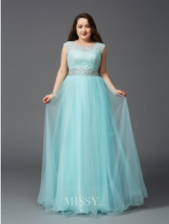 A-Line/Princess Sleeveless Scoop Rhinestone Floor-Length Elastic Woven Satin Plus Size Dresses