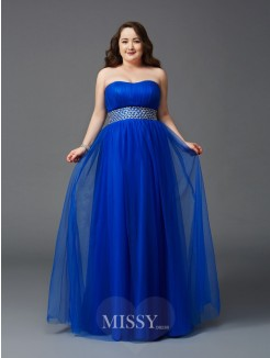A-Line/Princess Strapless Sleeveless Beading Floor-Length Net Plus Size Dresses