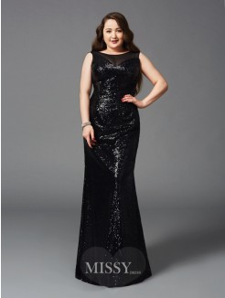 Sheath/Column Sleeveless Scoop Floor-Length Sequins Plus Size Dresses