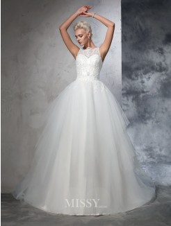 Ball Gown Sleeveless Bateau Net Applique Chapel Train Wedding Dresses