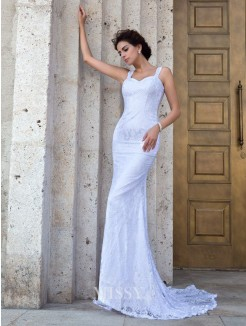 Sheath/Column Sleeveless Straps Applique Court Train Lace Wedding Dresses
