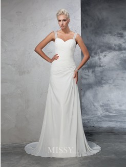 Trumpet/Mermaid Sleeveless Straps Chiffon Court Train Ruched Wedding Dresses