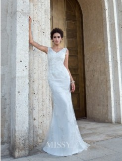 Trumpet/Mermaid Sleeveless V-neck Sweep/Brush Train Net Applique Wedding Dresses