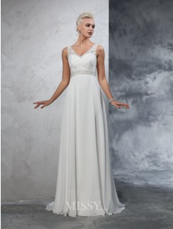 A-Line/Princess Sleeveless V-neck Chiffon Court Train Beading Wedding Dresses