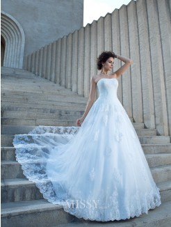 Ball Gown Sleeveless Strapless Satin Chapel Train Applique Wedding Dresses
