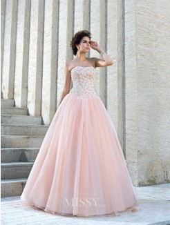 Ball Gown Sleeveless Strapless Satin Floor-Length Beading Wedding Dresses