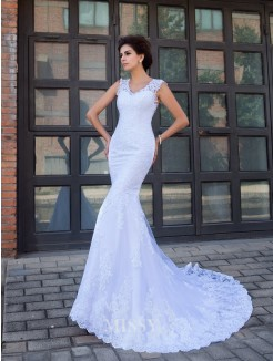 Trumpet/Mermaid Sleeveless V-neck Satin Applique Chapel Train Wedding Dresses