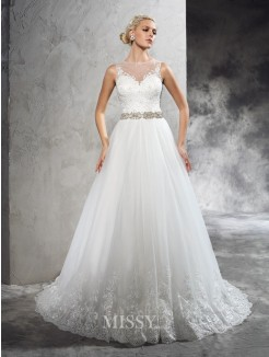 A-Line/Princess Sleeveless Sheer Neck Beading Court Train Net Wedding Dresses