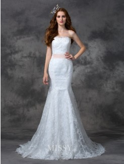 Trumpet/Mermaid Strapless Sleeveless Sash/Ribbon/Belt Court Train Lace Wedding Dress