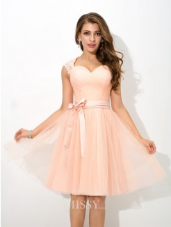 A-Line/Princess Sleeveless Straps Sash/Ribbon/Belt Mini Net Bridesmaid Dress